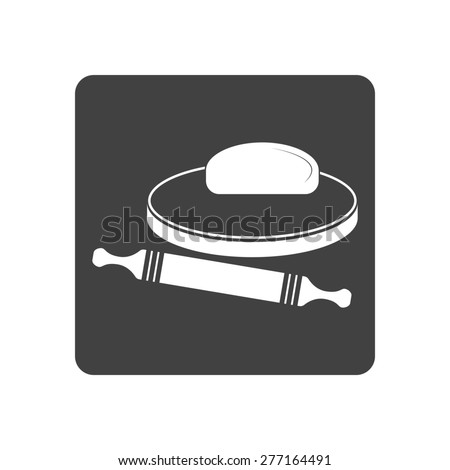 Vector illustration of dough and rolling pin on a wooden board. Icon on white background. Button. - stock vector