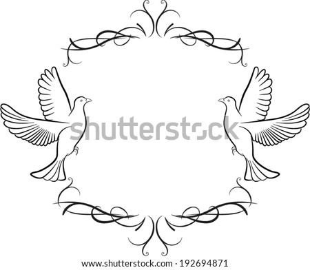 Vector illustration of dove and ornaments background - stock vector