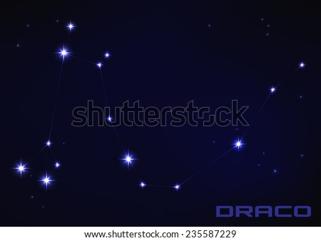 Vector illustration of Draco constellation in blue  - stock vector