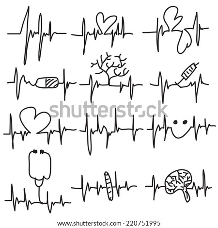 Vector illustration of drawn Heart beat, cardiogram, Pulse isolated on white background - stock vector