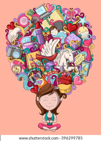 vector illustration of dream and thought of teenage girl - stock vector