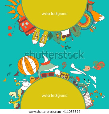 Vector illustration of dreams about travel and vacation - stock vector