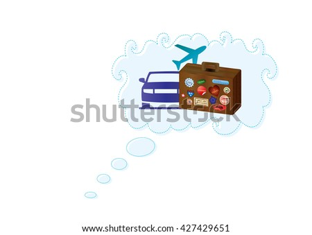 vector illustration of dreams and thoughts about vacation, traveling, holidays, with a retro vintage world traveler suitcase with stickers, car and plane in a cloud balloon - stock vector