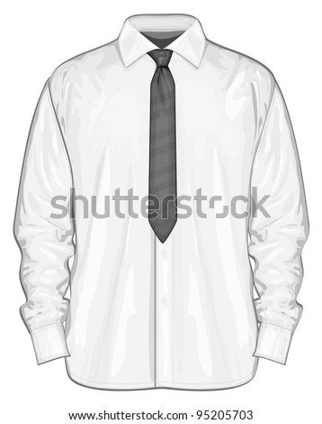 Vector illustration of dress shirt (button-down) with neckties. Front view - stock vector