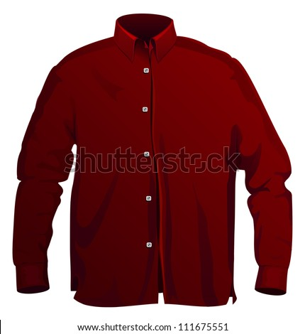 Vector illustration of dress shirt. Front view isolated on white - stock vector