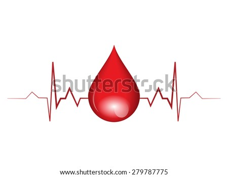 Vector illustration of drop blood  - stock vector