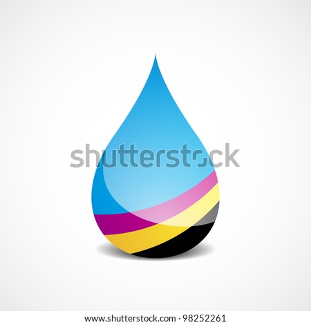 Vector Illustration of Drop With Offset Printing Colors (eps v.10) - stock vector