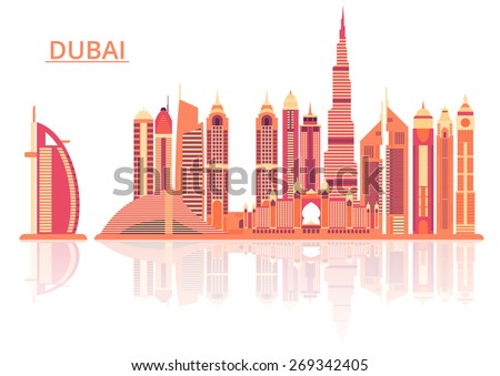 Vector illustration of Dubai city - stock vector