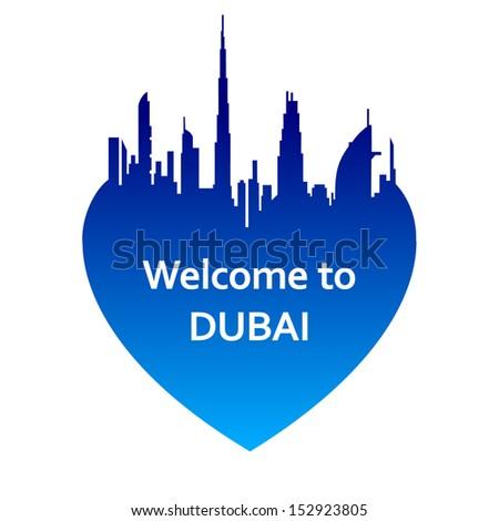 Vector illustration of Dubai skyline in heart shape. Welcome to Dubai - stock vector