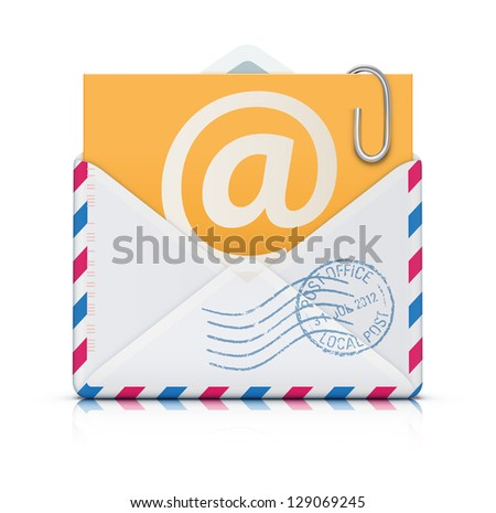 Vector illustration of E-mail concept with open blank airmail envelope - stock vector