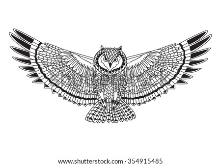 Vector illustration of Eagle owl. Black and white hand drawn zentangle art. Ethnic patterned vector illustration. Sketch for adult antistress coloring page, tattoo, poster, print, t-shirt and so on.
