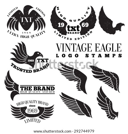 Vector illustration of eagle wing vintage logo label stamps. - stock vector