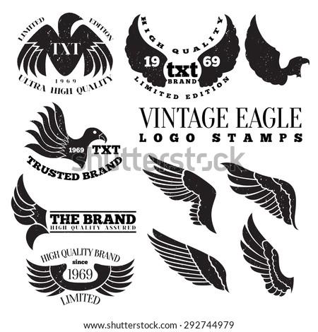 Vector illustration of eagle wing vintage logo label stamps. - stock vector