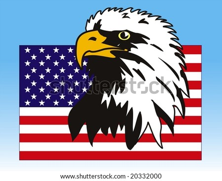 Vector illustration of eagle with American flag