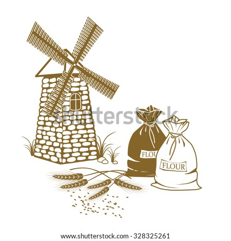 Vector illustration of ears of wheat, sacks of flour and windmill on the white background - stock vector