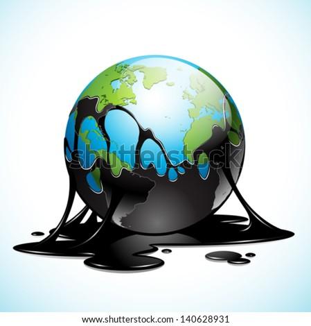Vector illustration of Earth covered in dark oil - stock vector