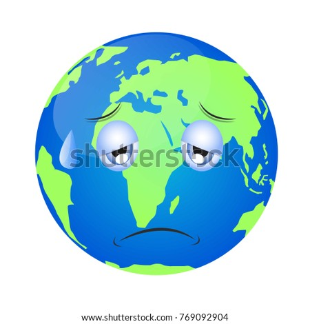 Vector Illustration Earth Globe Showing Sad Stock Vector ...