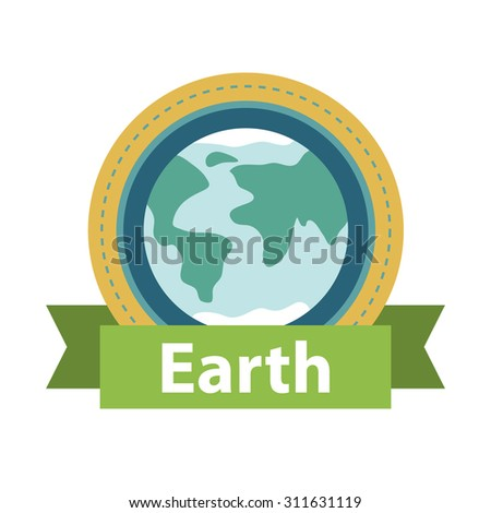 Vector illustration of earth globe with green ribbon and text Earth. Ecology concept. Earth day card template. Our Planet. - stock vector