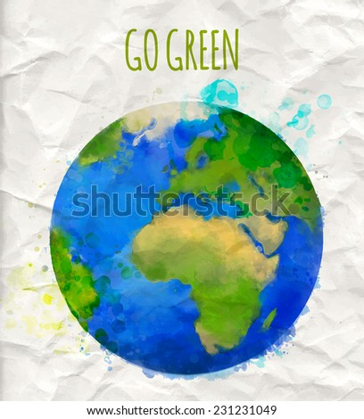 "Vector illustration of earth globe with watercolor texture and text ""go green"". Ecology concept. - stock vector"
