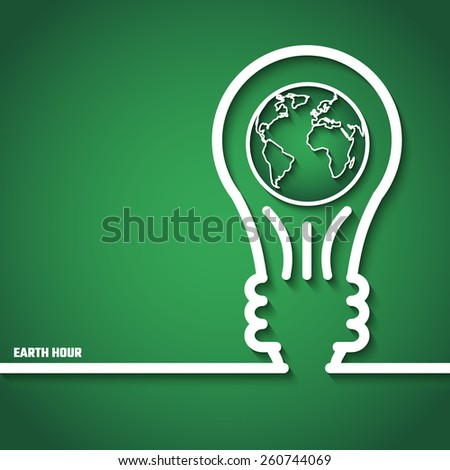 Vector Illustration of Earth Hour for Design, Website, Background, Banner. Eco Energy Save Concept Element Template with Map and Lamp in Outline Style - stock vector