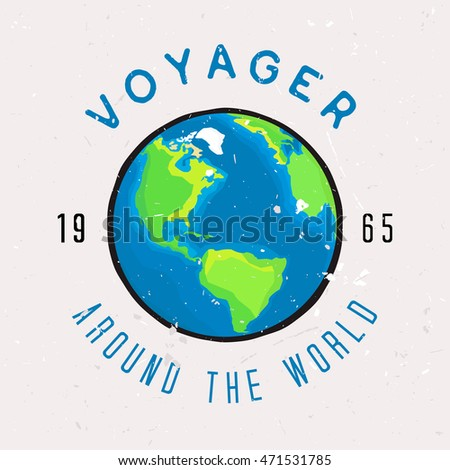 Vector illustration of Earth in print for t-shirt or apparel design. Around the world - phrase. Wear design