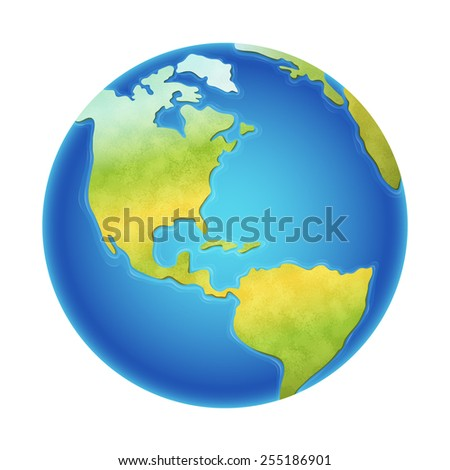 Vector illustration of earth isolated on white, with north, south and central america visible. - stock vector