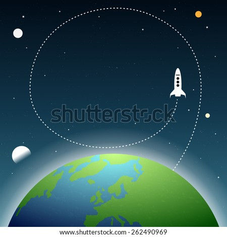 Vector illustration of earth space with copyspace and spaceship trails. - stock vector