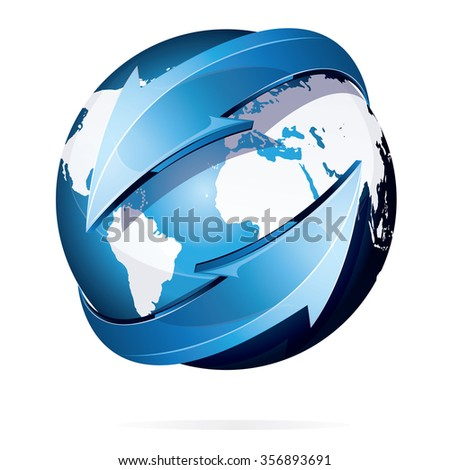 Vector illustration of earth with white continents world map and blue arrows isolated on white - stock vector
