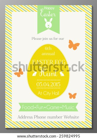 Vector illustration of Easter egg hunt party invitation card - stock vector