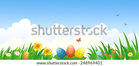 Vector illustration of Easter eggs and flowers - stock vector
