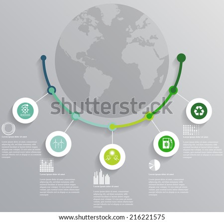 Vector illustration of ecology infographics concerning to ecology, pollution, energy and sustainable development themes. Can be used for workflow layout, banner, diagram, web design - stock vector