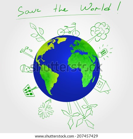 Vector Illustration of Ecology Protection the Earth for Design, Website, Background. Banner Save The World. Template Planet Eco