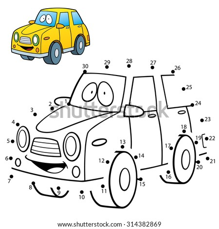 Vector Illustration of Education dot to dot game - Car - stock vector