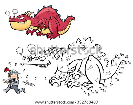 Vector Illustration of Education dot to dot game - Dragon