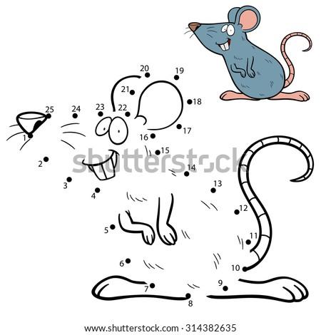 Vector Illustration of Education dot to dot game - Rat - stock vector