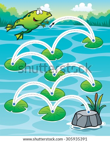 Vector Illustration of Education Frog jump - Line dot  - stock vector