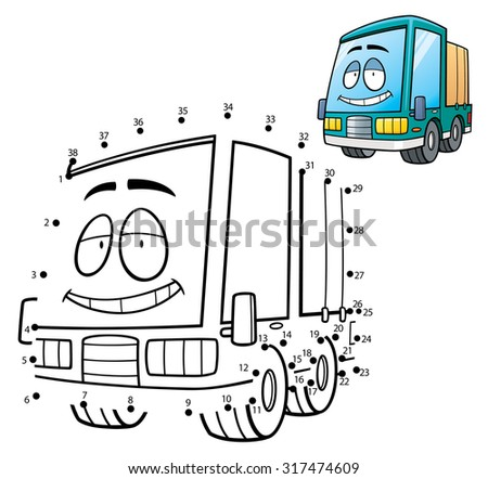 Vector Illustration of Education game dot to dot - Truck - stock vector