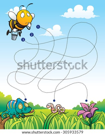 Vector Illustration of Education Maze Game Bee with flower