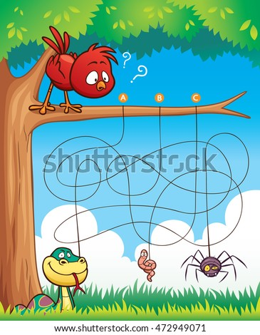 Vector Illustration of Education Maze Game Bird with food