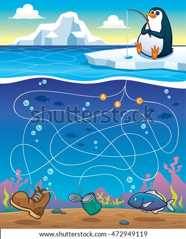Vector Illustration of Education Maze Game Penguin Fishing