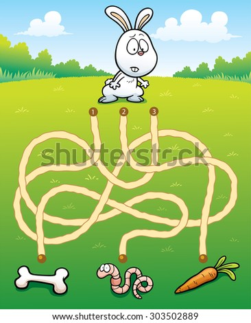 Vector Illustration of Education Maze Game Rabbit with food - stock vector