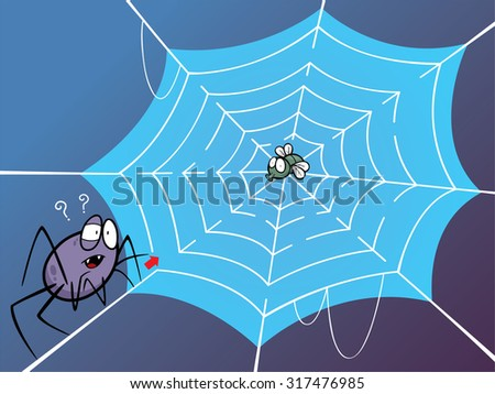 Vector Illustration of Education Maze Game Spider web - stock vector