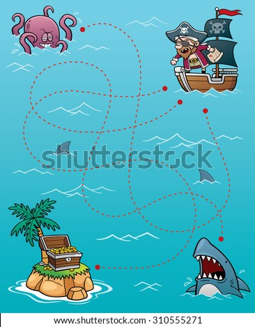 Vector Illustration of Education Pirate Maze Game - stock vector