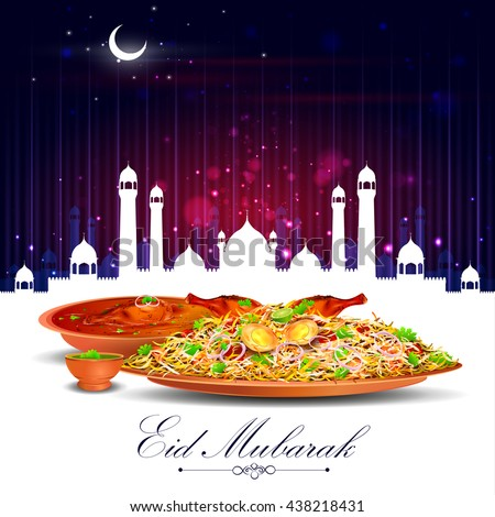 vector illustration of Eid Mubarak ( Blessing for Eid) background with iftar meal - stock vector