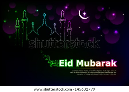vector illustration of Eid Mubarak ( Blessing for Eid) background with Islamic mosque - stock vector