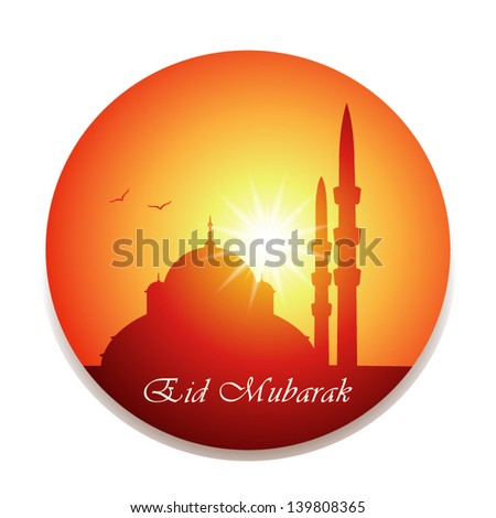 vector illustration of Eid Mubarak greeting with silhouette of mosque or masjid on background of sunset - stock vector