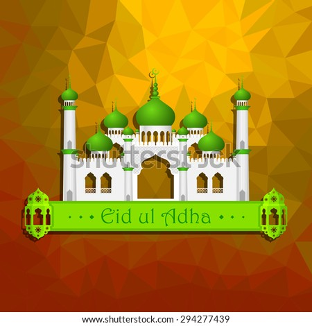 vector illustration of Eid ul Adha (Festival of the sacrifice) background with Islamic mosque - stock vector