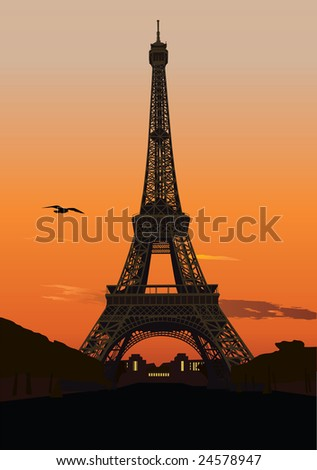 Vector illustration of Eiffel tower at sunset. Paris, France - stock vector