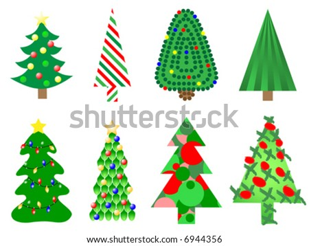 Vector illustration of eight different style christmas trees - stock vector