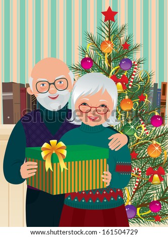 Vector illustration of elderly couple celebrating Christmas at home/ Elderly couple celebrating Christmas/ Grandma and Grandpa with Christmas present under the Christmas tree stand - stock vector